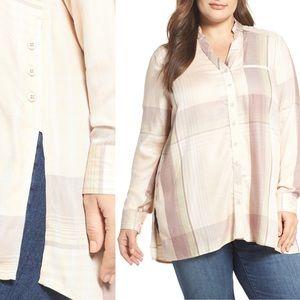 Melissa McCarthy Seven7 1 Pocket High/Low Shirt 3X